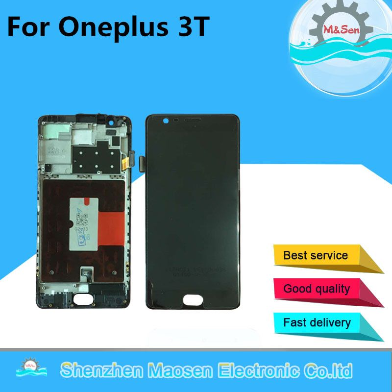 M&Sen For Oneplus 3T A3010 LCD screen Display+Touch panel Digitizer with frame Black/White free shipping