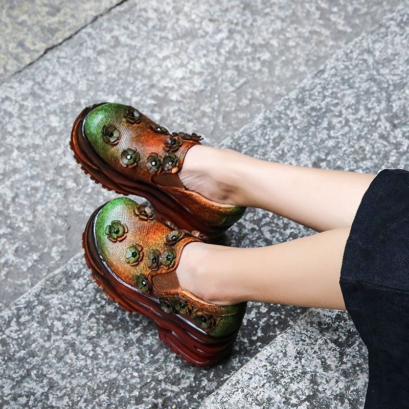 Vintage Pumps Lady High Platform Women High Heel Shoes Natural Leather Rivet Flowers Elastic Band Mixed Color Female Wedge Shoes