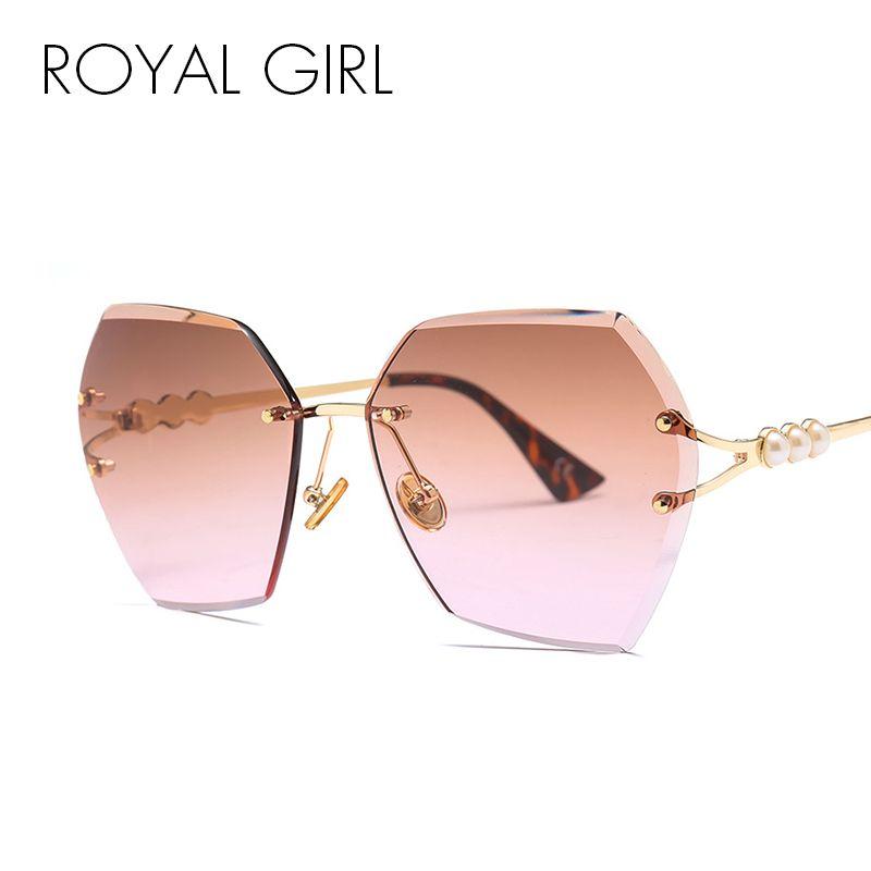ROYAL GIRL luxe sans monture lunettes de soleil femmes 2019 marque irrégulière garni lunettes perle métal cadre lunettes de soleil femme UV400 ss726