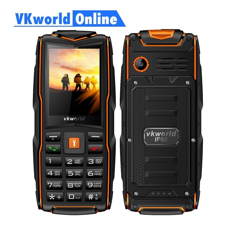 VKworld New Stone V3 Mobile Phone Waterproof <font><b>IP68</b></font> 2.4 inch FM Radio 3 SIM Card Led Flashlight GSM Russian Keyboard Cell phones