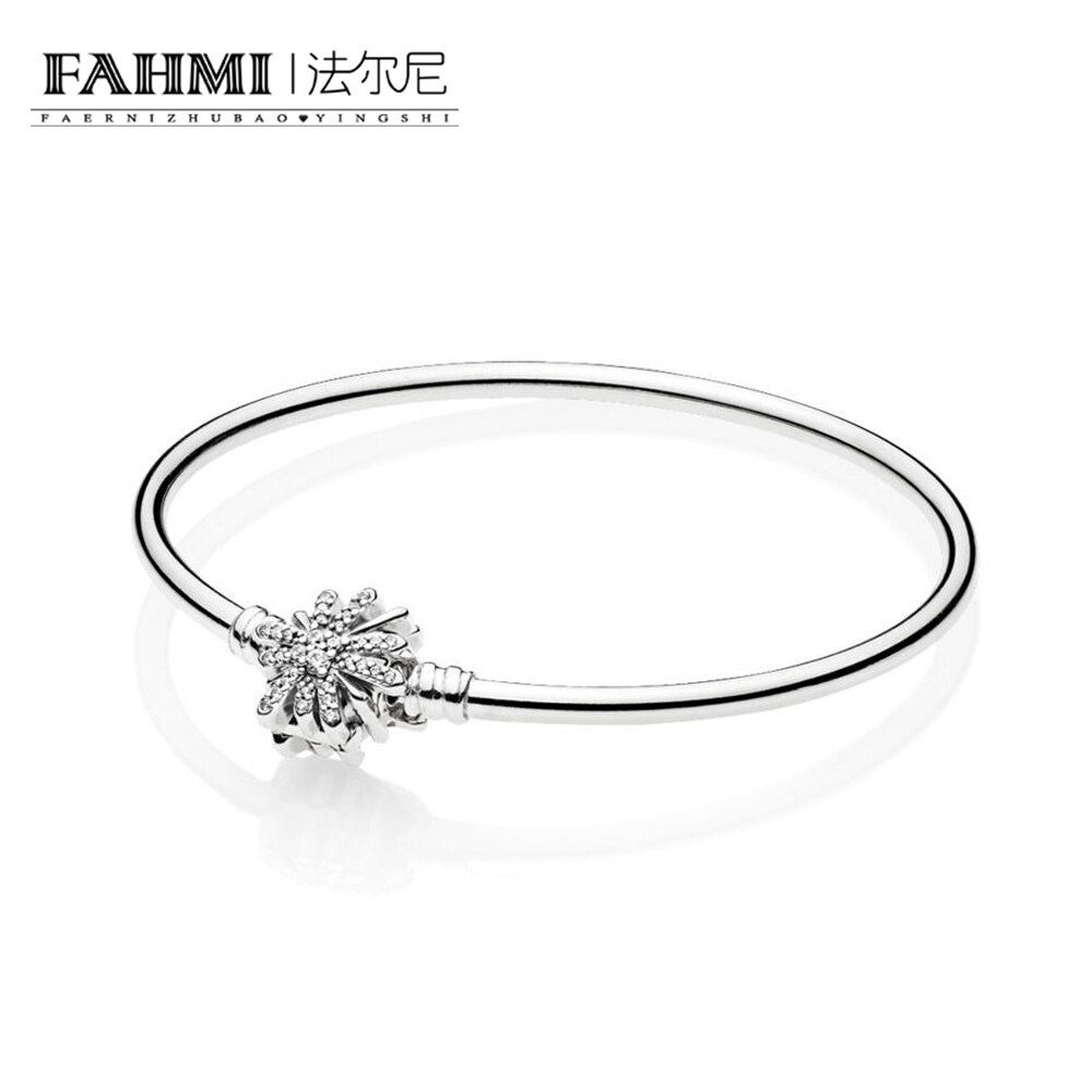 FAHMI 100% 925 Sterling Silver New 597563CZ Dazzling Fireworks Bangle Winter Christmas Gifts Recommend Elegant Women's Jewelry