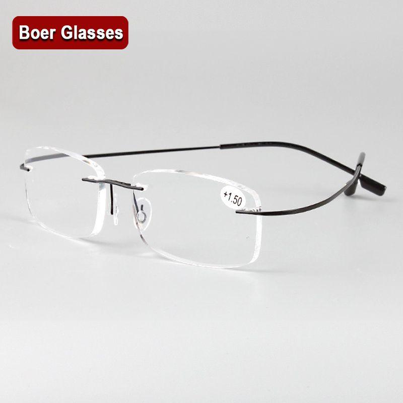 Sans monture mémoire titane lunettes flexibles lecture presbyte lunettes loupes + 1.0 + 1.5 + 2.0 + 2.5 + 3.0 + 3.5 + 4.0 +