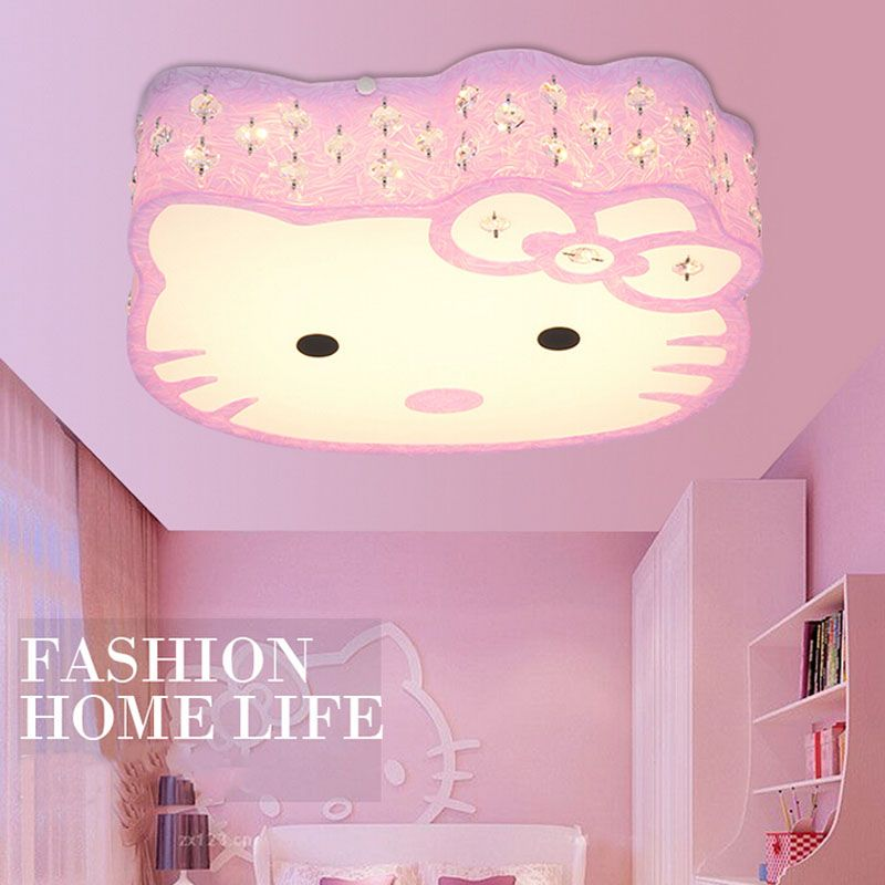 2017 Newest Hello Kitty Cat LED Ceiling Lights Fixture Cute Girls Bedroom Ceiling Lamps Kids Child Cartoon Living Room Light