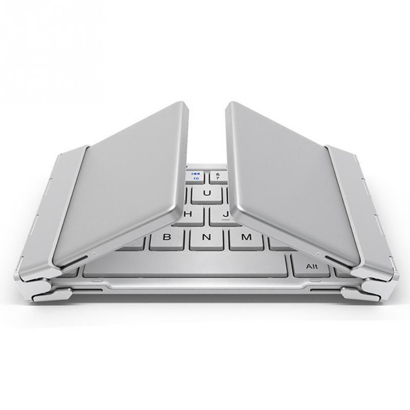 Intelligent Pocket Folding Keyboard Aluminum Bluetooth Foldable Universal Wireless Travel Keypad for iphone ipad PC tablet phon