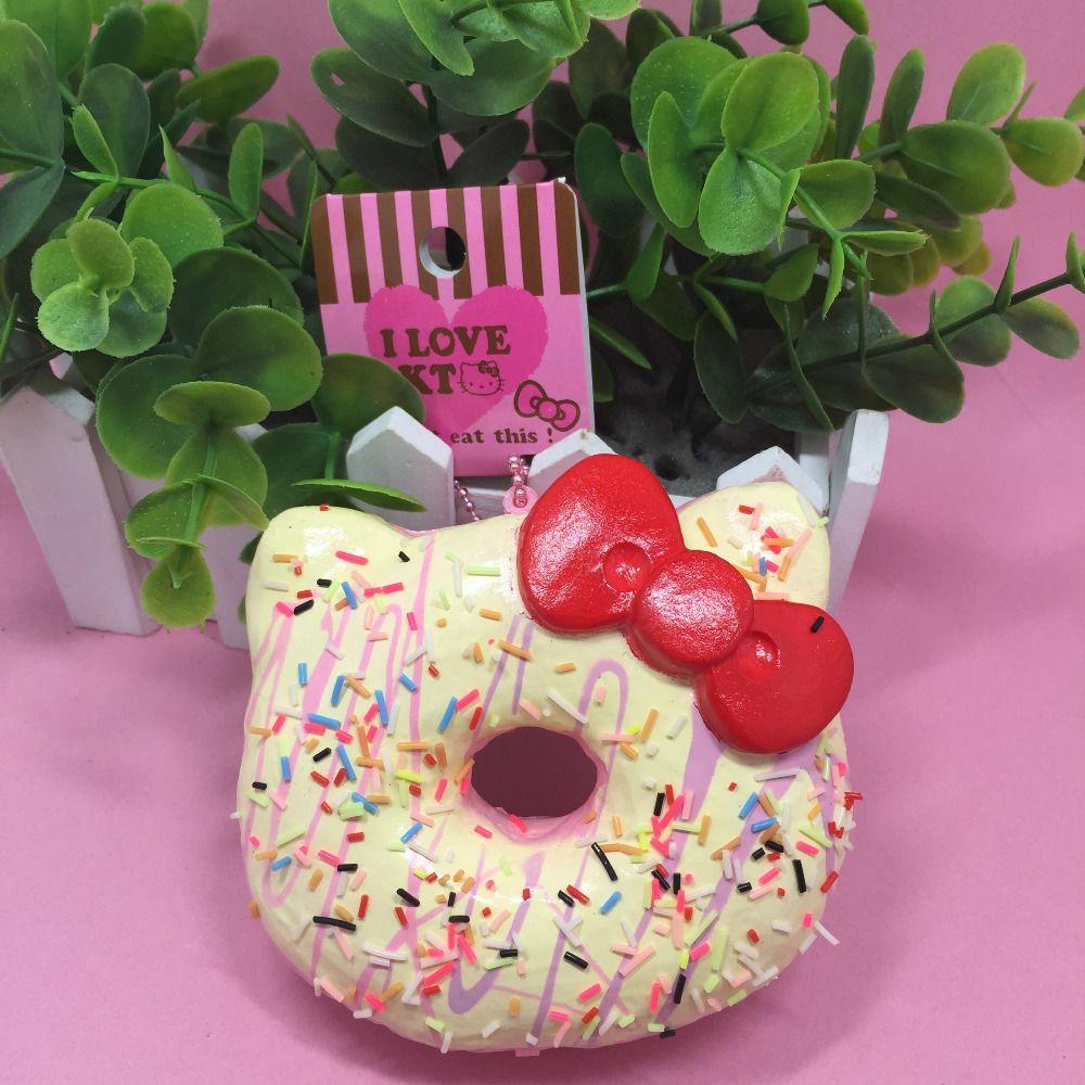 1 pc 10 cm Emballage D'origine Bonjour Kitty Visqueux Jouets Rare Jumbo Donut Charme Mignon Squishies Buns Alimentaires En Gros Simulation alimentaire