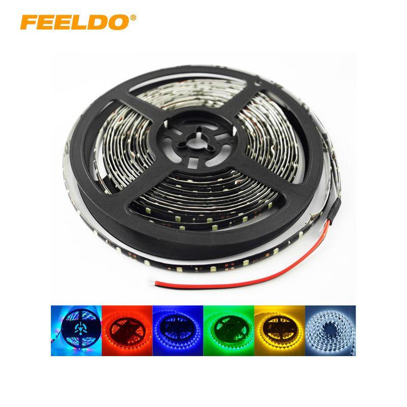 FEELDO 24 V 500 cm 5 Mètre 3528 1210 SMD 300 Led imperméable à l'eau De Voiture Camion Décoration LED Bande Lumière Feux Diurnes 6-couleur