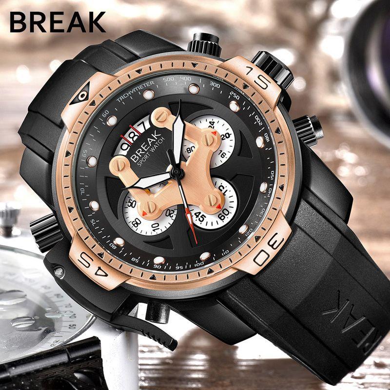 BREAK Watch Men Fashion Sport Quartz Clock Mens Watches Top Brand Luxury Rubber Waterproof Gold Wrist Watch Relogio Masculino