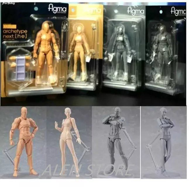 ALEN Anime Figma Archetype He She Ferrite Figma Movable BODY KUN BODY CHAN PVC Action Figure Model Toys Doll for Collectible