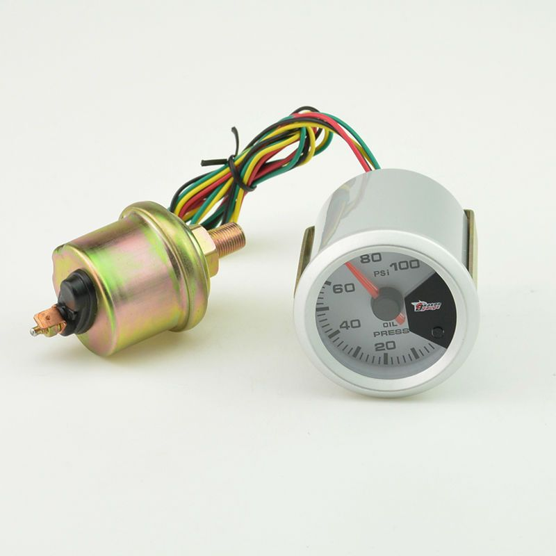 52MM 7 Color backlight Auto Car Oil Pressure gauge Meter Gauge with Sensor unit 0-100 PSI Free shipping