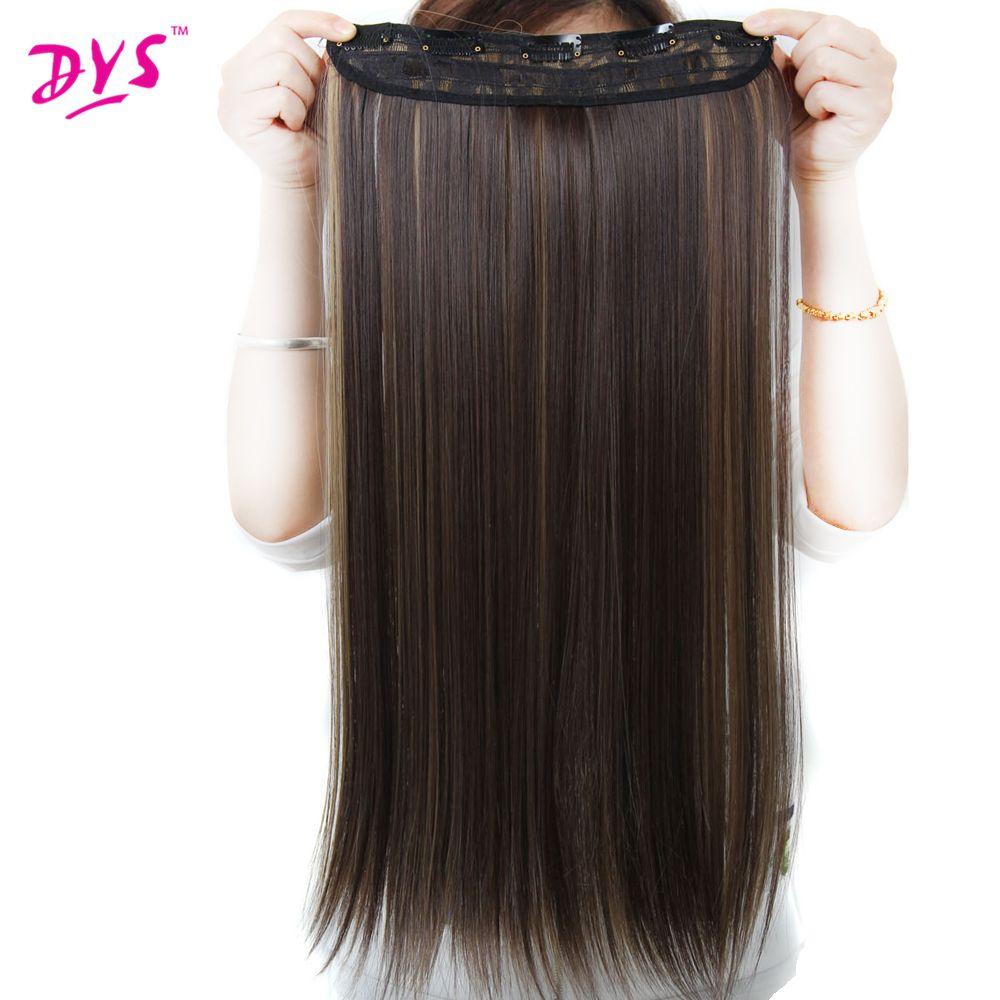 Deyngs 5 clips dans Extensions de cheveux soyeux droit 24 pouces synthétique faux faux cheveux pièce Clips sur postiches pour femmes 13 couleurs