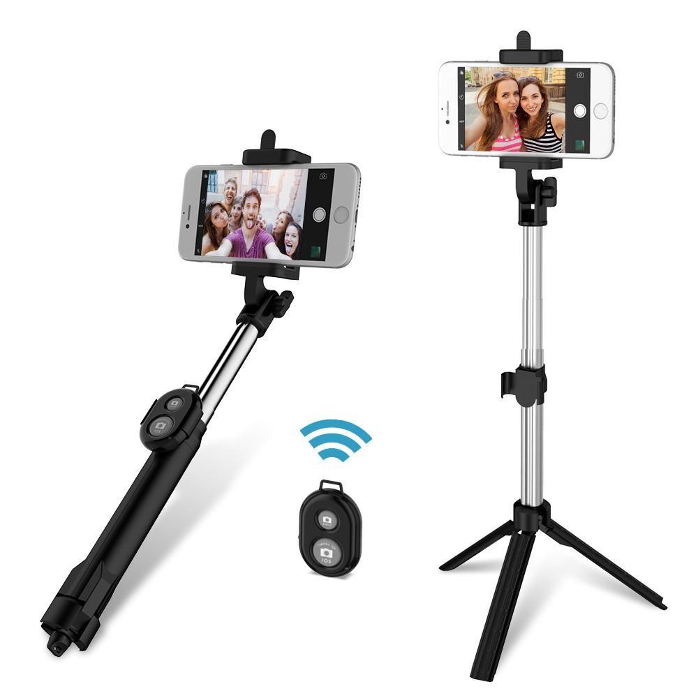 4 en 1 Selfie bâton Mini trépied auto-bâton Bluetooth obturateur à distance multifonctionnel portable extensible monopode pour iPhone 7
