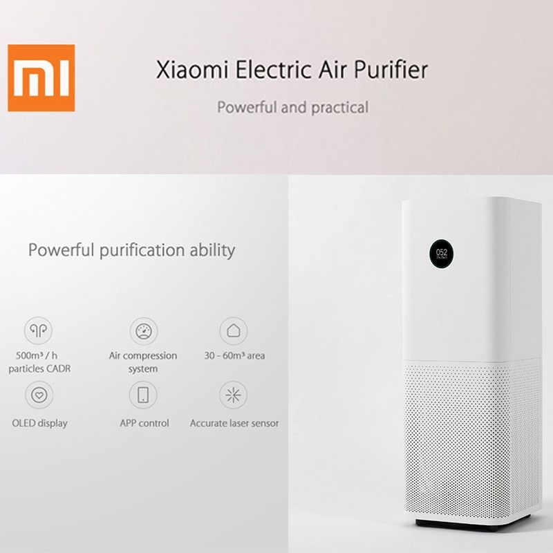 Original Xiaomi 220V Air Purifier Pro OLED Screen Wireless Smartphone APP Control Home Air Cleaning Intelligent Air Purifiers