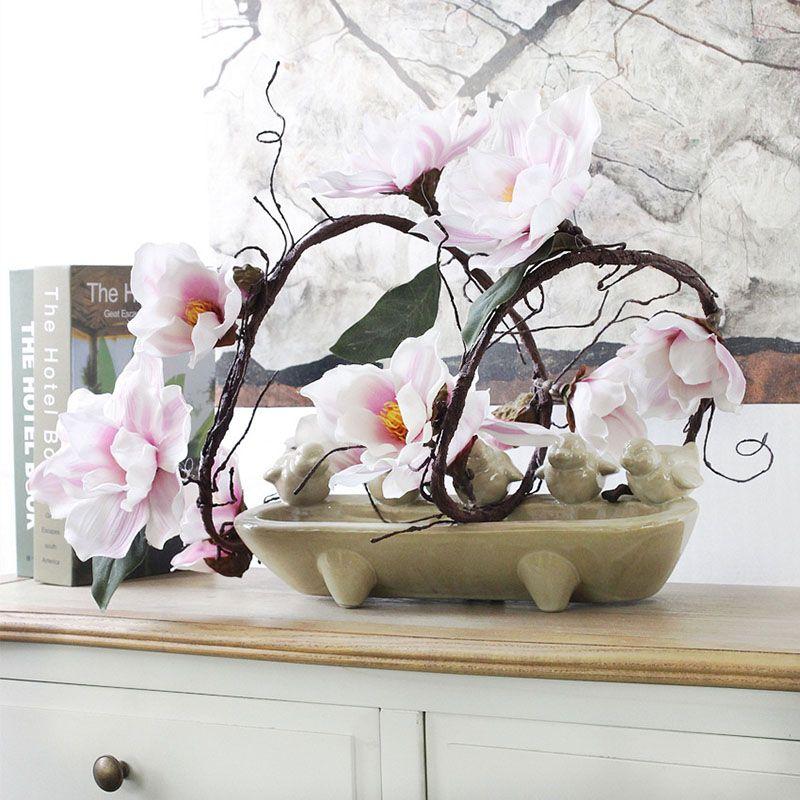 185 cm Nylon fleur artificielle azalées Magnolia branches artificielles blanc coucous longue tige arbitraire flexion soie fleur décor
