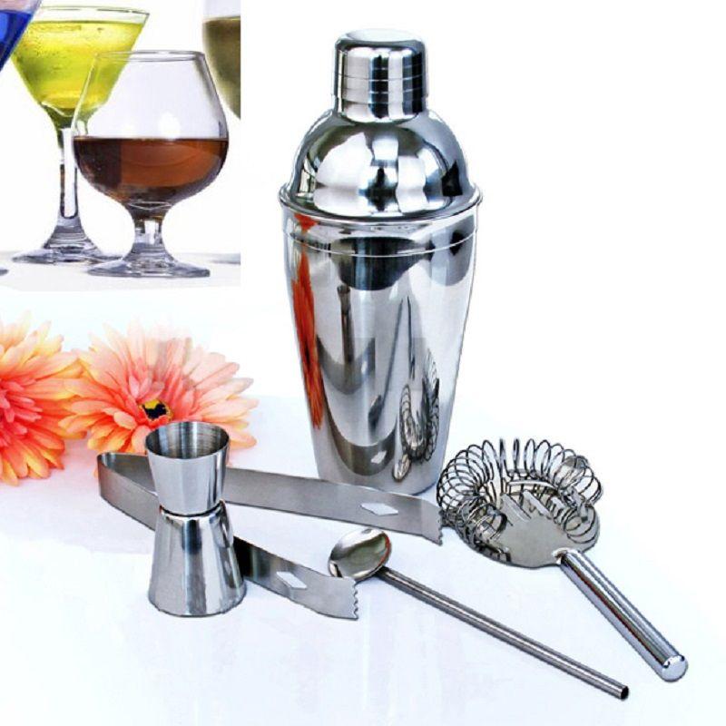 5 Pcs/ensemble 350 ml En Acier Inoxydable Cocktail Shaker Set Mixer Boissons Aubépine Filtre Pinces À Glace Cuillère À Mélange Tasse Cuisine Bar outil