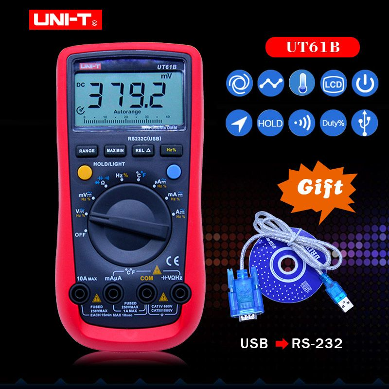 UT61B UNI-T Digital Multimeter Auto Range RS232 USB PC Software Data Hold Temperature Auto Power Off Best Accuracy 1% Multimetro