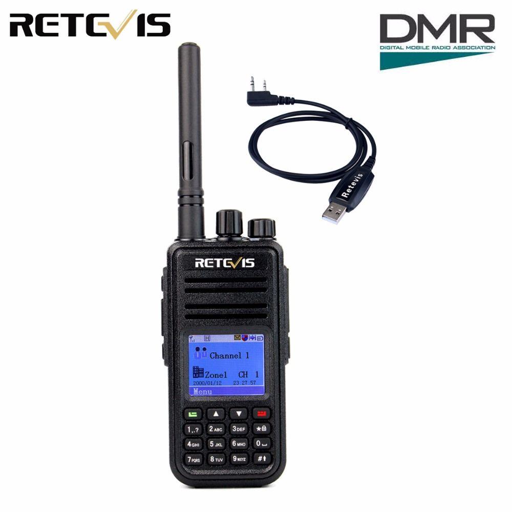 DMR Radio Digital Walkie Talkie Retevis RT3 UHF 400-480MHz 5W 1000CH Ham Radio Hf Transceiver 2 antenna + Program Cable