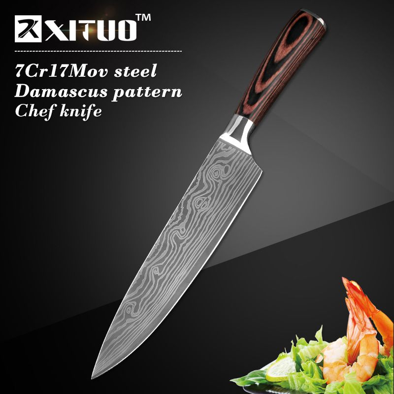 High quality 8inch Utility Chef Knives Imitation Damascus steel Santoku kitchen Knives Sharp Cleaver Slicing Knives Gift Knife