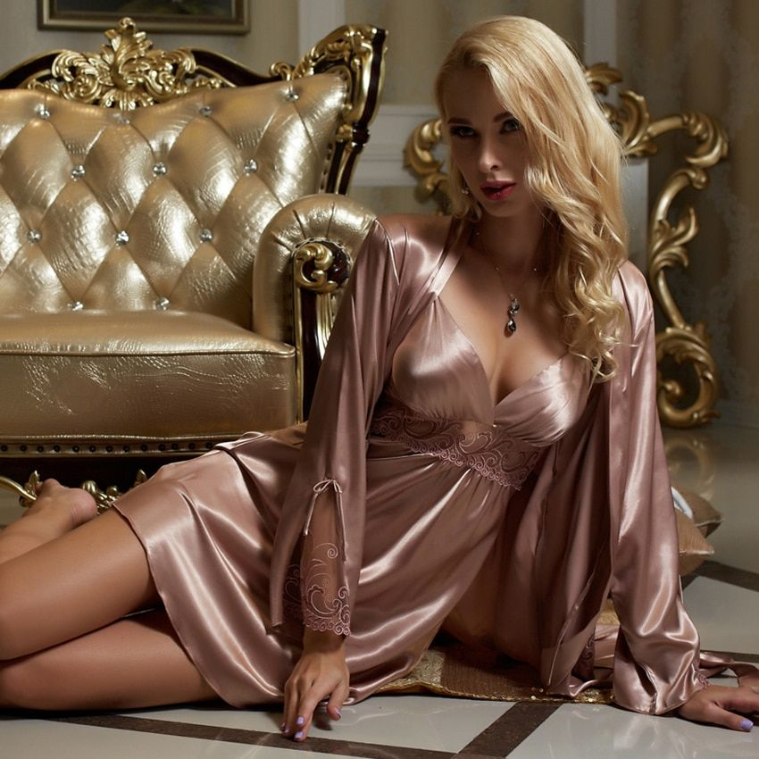 Xifenni Robe Sets Female Smooth Satin Silk Sleepwear Women Lace Pijama Sexy V-Neck Two-Piece Long-Sleeve Bathrobes Set 8207