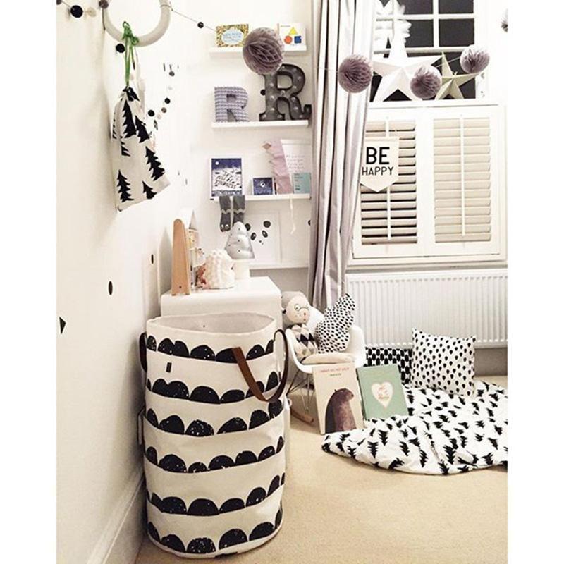Enfants Bébé Jouets Stockage Toile Sacs Seau De Stockage Moderne Style Jouet Seau Nordique En Cuir Poignée Peut Stand Sac En Toile