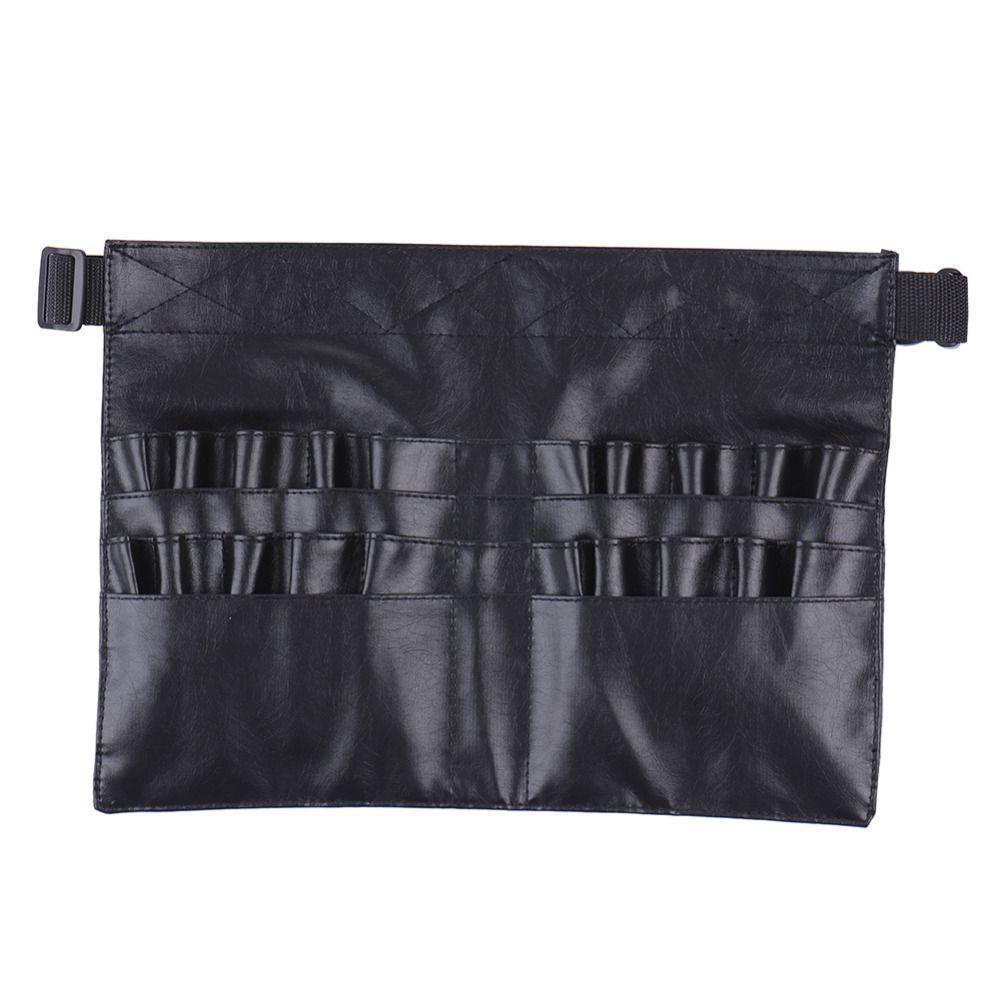 Vente chaude noir étui en cuir professionnel cosmétique maquillage brosse tablier sac artiste ceinture sangle titulaire étui de maquillage