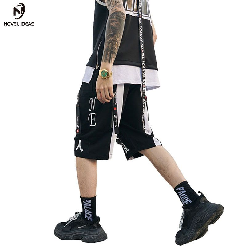 China shorts male Suppliers Summer Chinese characters Zipper Hip-hop Shorts Male Fashion Elastic Waist Streetwear Shorts US S