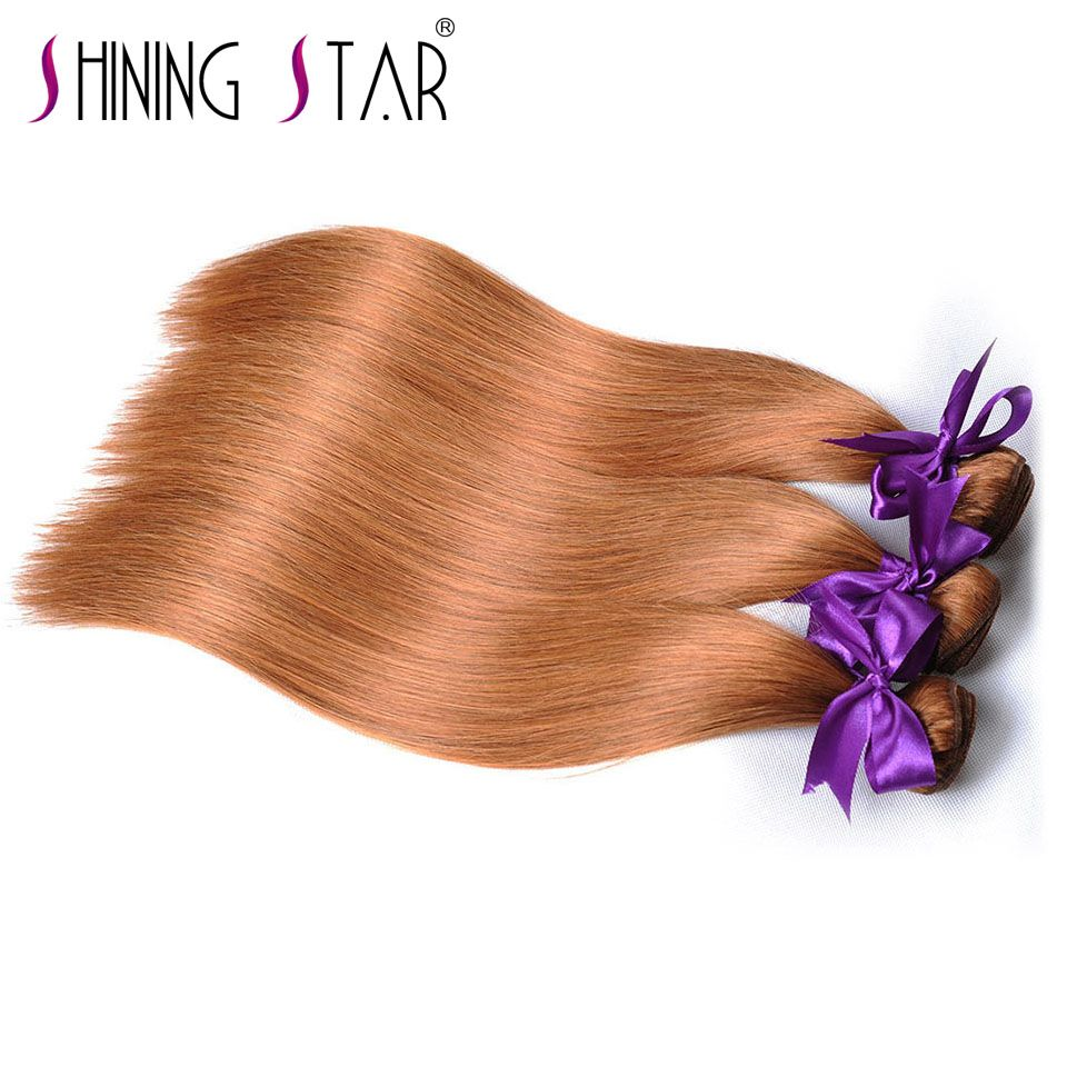 Gold Blonde Brazilian Hair Bundles Straight Colored 30 Human Hair Weave Bundles 10-26 inches Shining Star NonRemy Can Be Restyle