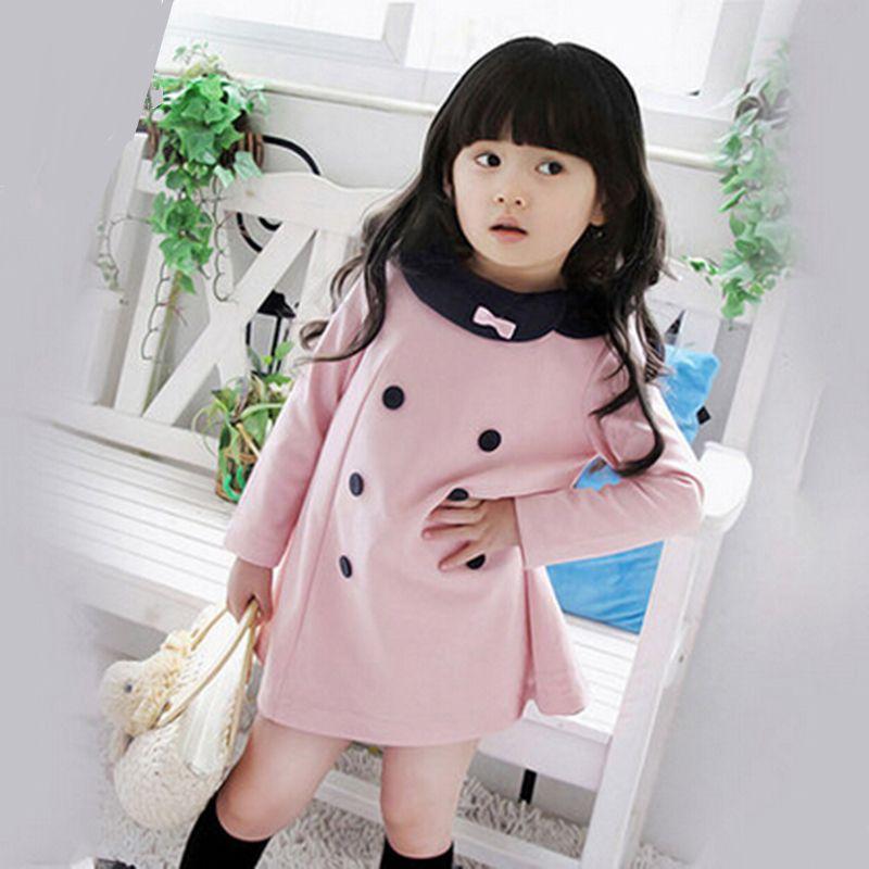 Offre spéciale nouvelle automne enfants et filles robes enfants double-boutonnage arc à manches longues dentelle princesse tenue décontractée pour la fête
