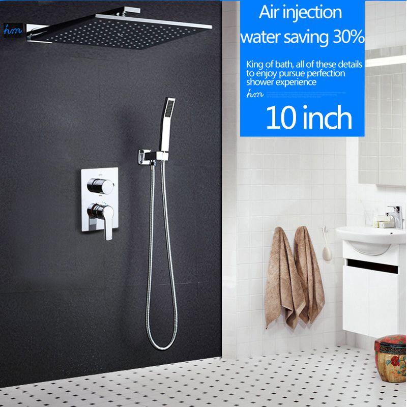 Hm 10 Regendusche Kopf System Chrom Poliert Bad & Dusche Wasserhahn Bad Luxus Regen Dusche Combo Gesetzt Wand
