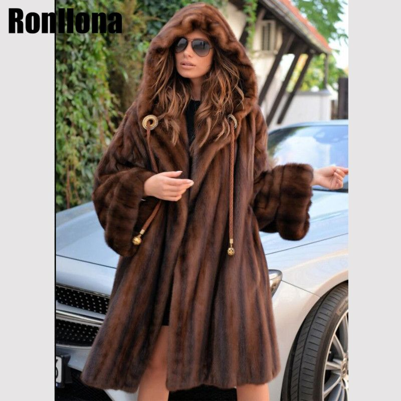 2018 New Real Mink Fur Coat With Big Hood Jacket Women Fur Genuine Coat Natural Mink Luxury Winter Overcoat Plus Size MKW-203