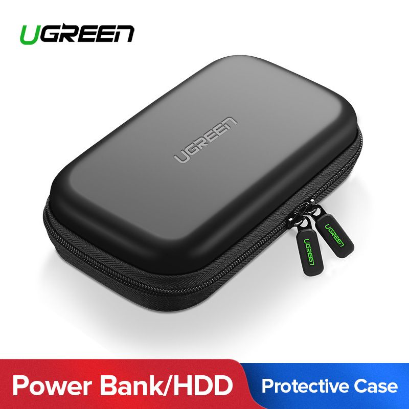Ugreen Puissance Banque Cas Dur Cas Boîte pour 2.5 Disque Dur Disque USB Câble Externe De Stockage De Transport SSD HDD Cas