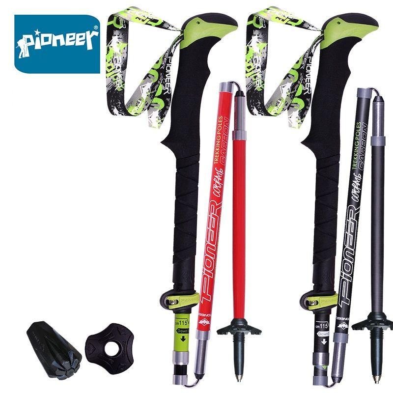 1 Stück Pioneer 100% Kohlefaser Trekkingstock Ultraleicht Zusammenklappbaren Trail Running Spazierstock für Outdoor Camping