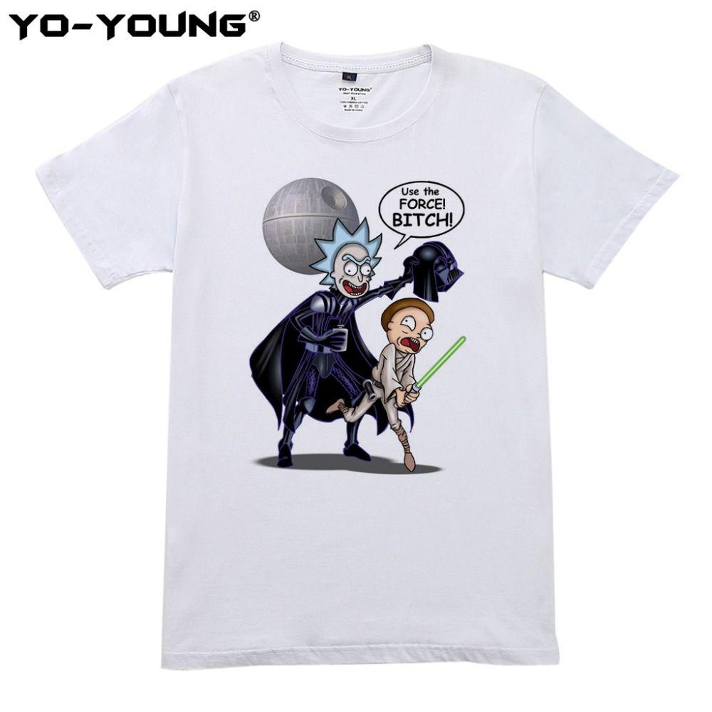 Date Rick Et Morty T Chemises Hommes Star Wars Conception Impression Numérique 100% 180 gsm Peigné Coton Casual T-shirts Homme personnalisé