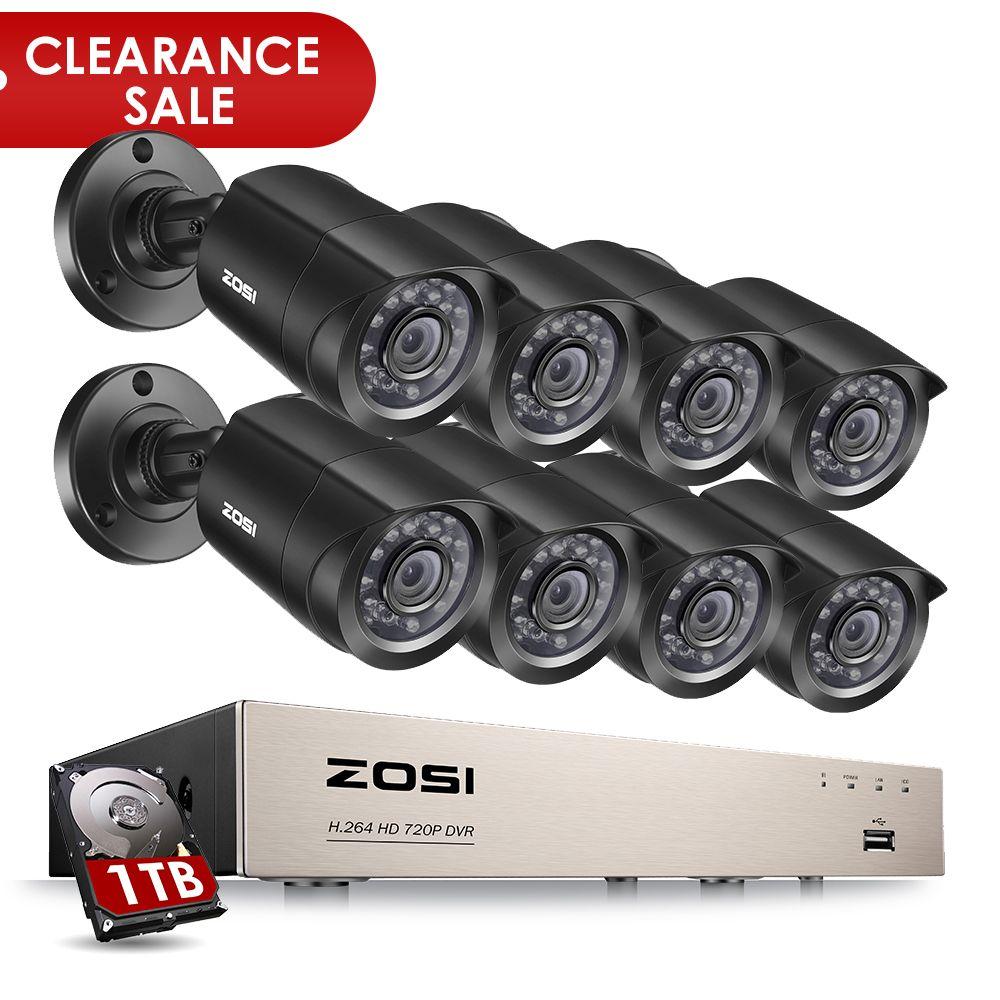 ZOSI 8-Channel 1080N HD-TVI DVR Surveillance Camera Kit 8x 1280TVL <font><b>720P</b></font> Indoor Outdoor IR Weatherproof Cameras 1TB HDD