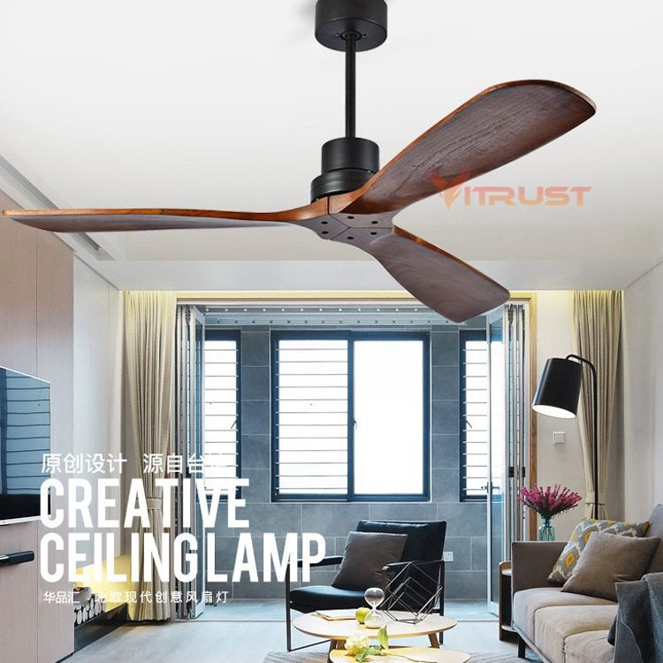 Industrial Vintage Ceiling Fan Without Light Wooden Ceiling Fans with Remote Control Nordic Simple Home Fining Room Ceiling Fan