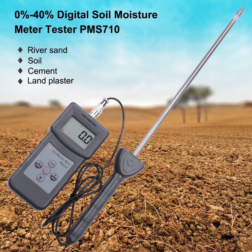 Yieryi Portable Digital PMS710 Soil Moisture Meter Probe Soil Moisture Analyzer for Concrete, River Sand, Soil, Gypsum Powder