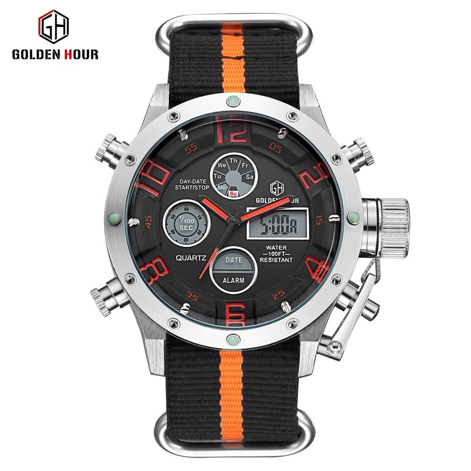 Top Luxury Brand Men's Quartz Analog Digital Watches Men Fashion Casual Male Sport Led Canvas Casual Clock Military Wristwatches