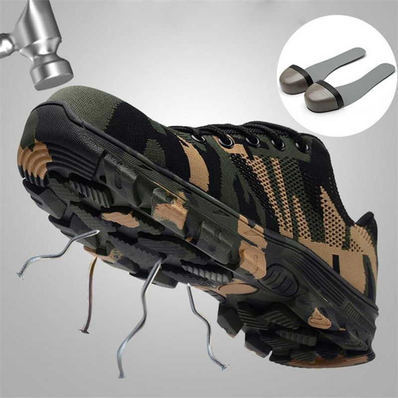 ELGEER Men Safety Work Boots Fashion Camouflage Breathable Mesh Steel Toe Casual Shoes Mens Labor Insurance Puncture Proof Shoes