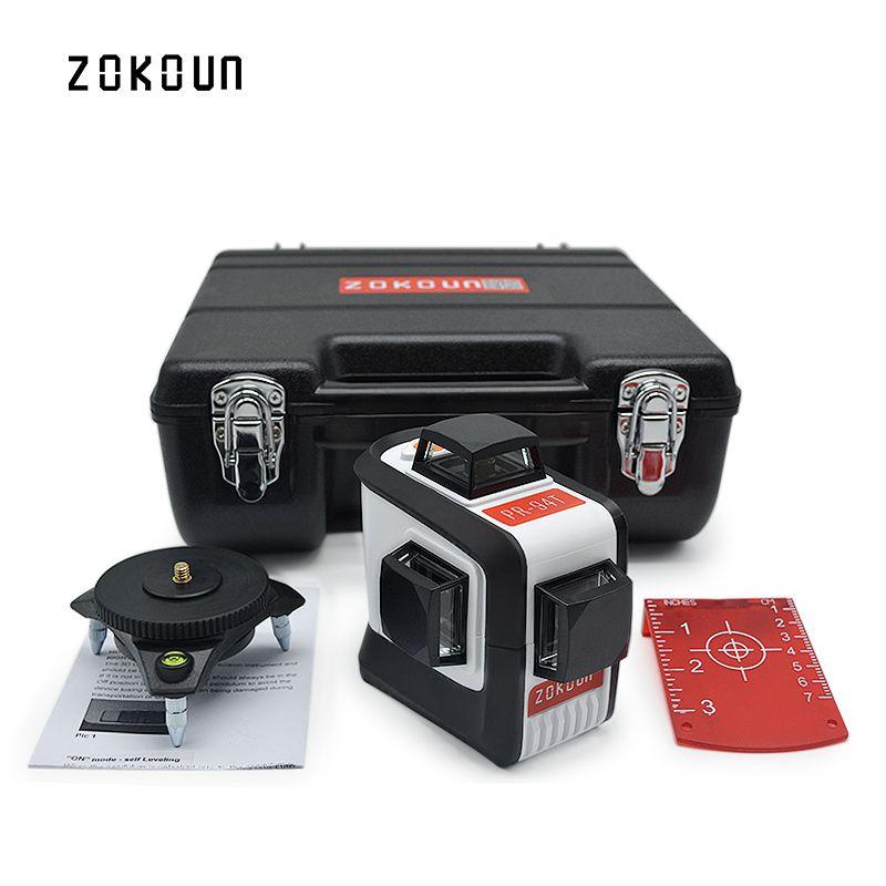 ZOKOUn 12 Lignes 3D 94 T Auto-Nivellement 360 Horizontal Et Vertical Croix Super Puissant Laser Rouge Faisceau Ligne Laser Niveau