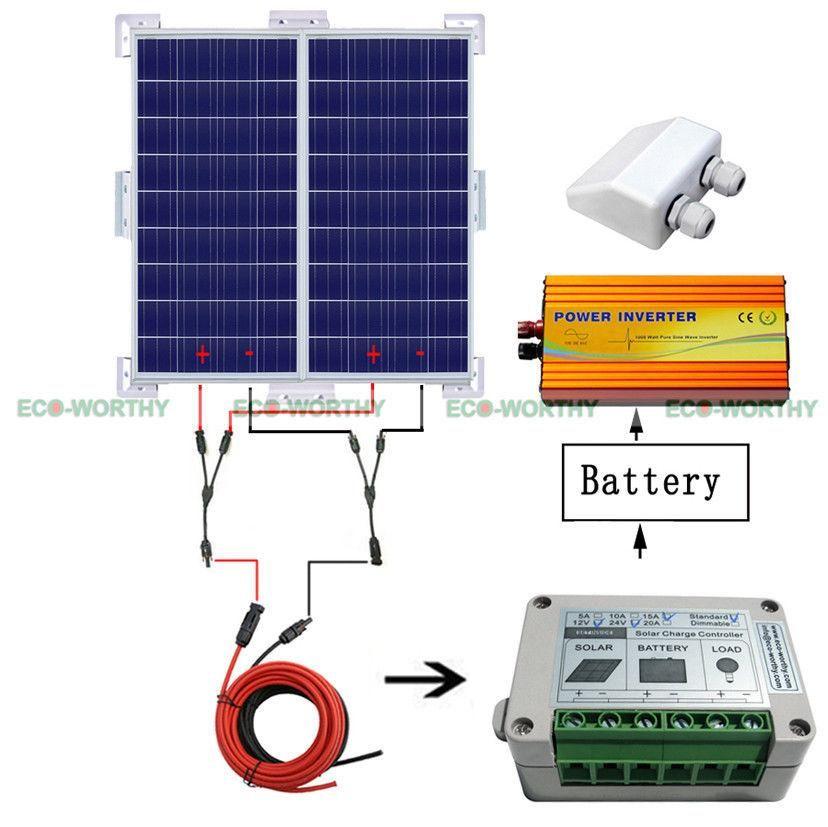 Solar System Kit 2x 100W Solar Panel W/ Corner Bracket off Grid for Caravan