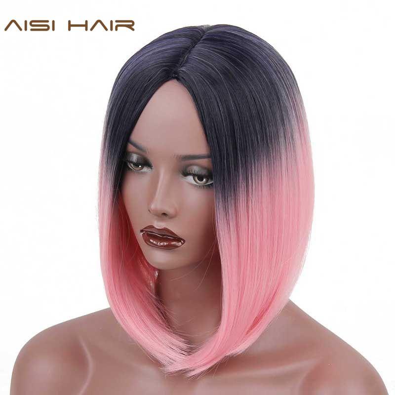 Aisi волосы короткие Ombre Искусственные парики для черный Для женщин синтетический прямо Ombre розовые волосы боб Стиль