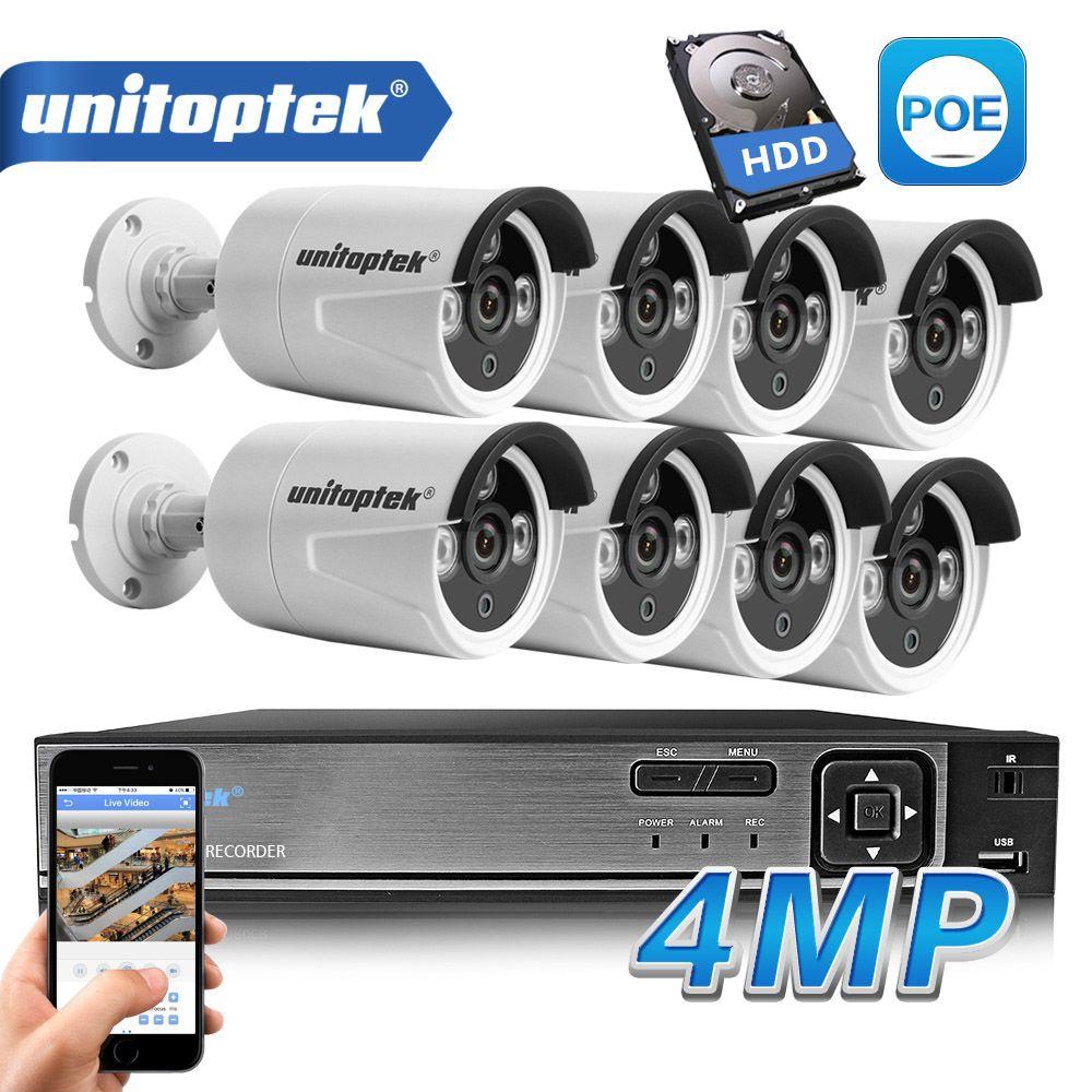 HD H.265 4.0MP POE Sicherheit Kamera CCTV System 4CH/8CH NVR Mit 2592*1520 IP Kamera Outdoor Tag /nacht Video Überwachung Kit