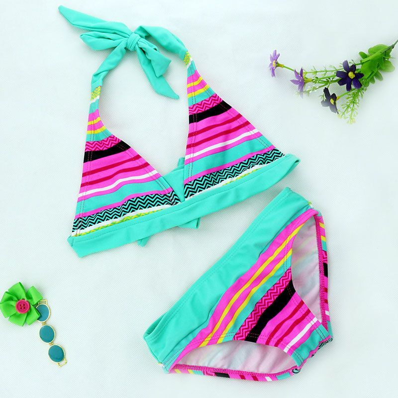 2018 New Summer girls Close-fitting elastic stripe swimsuit  girls split Two-pieces Swimwear, children stripe bikini wholesale