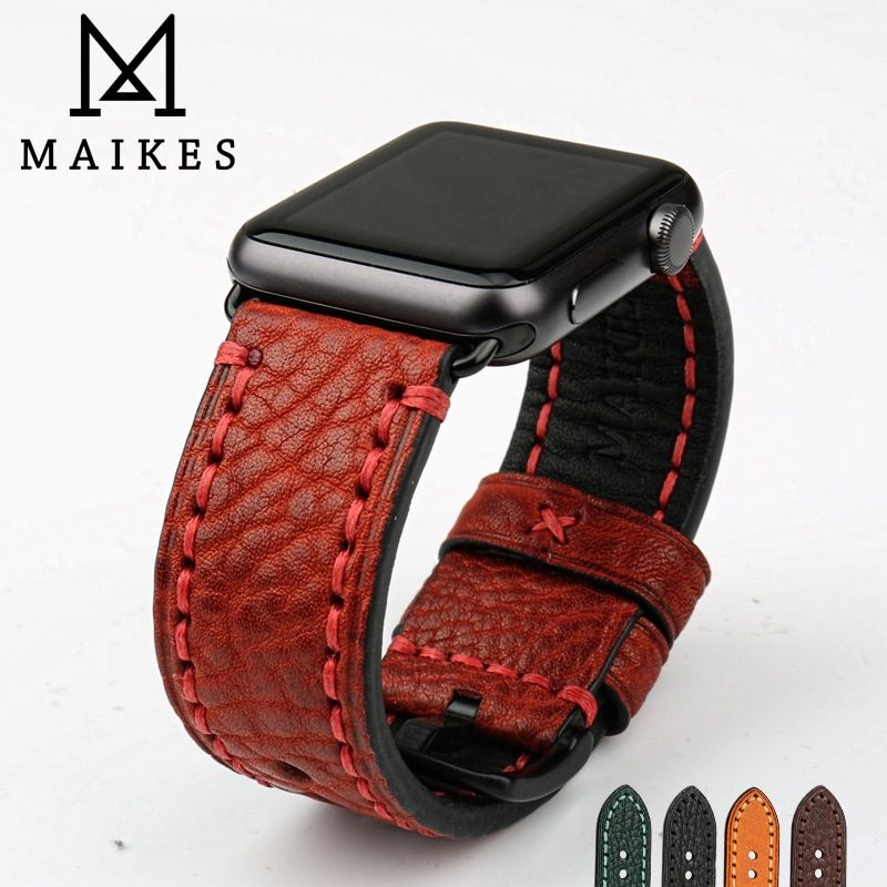 MAIKES New Watch Band For Apple Watch 44mm 40mm / 42mm 38mm Series 4 3 2 1 iWatch Special Genuine Leather Watch Strap Watchband