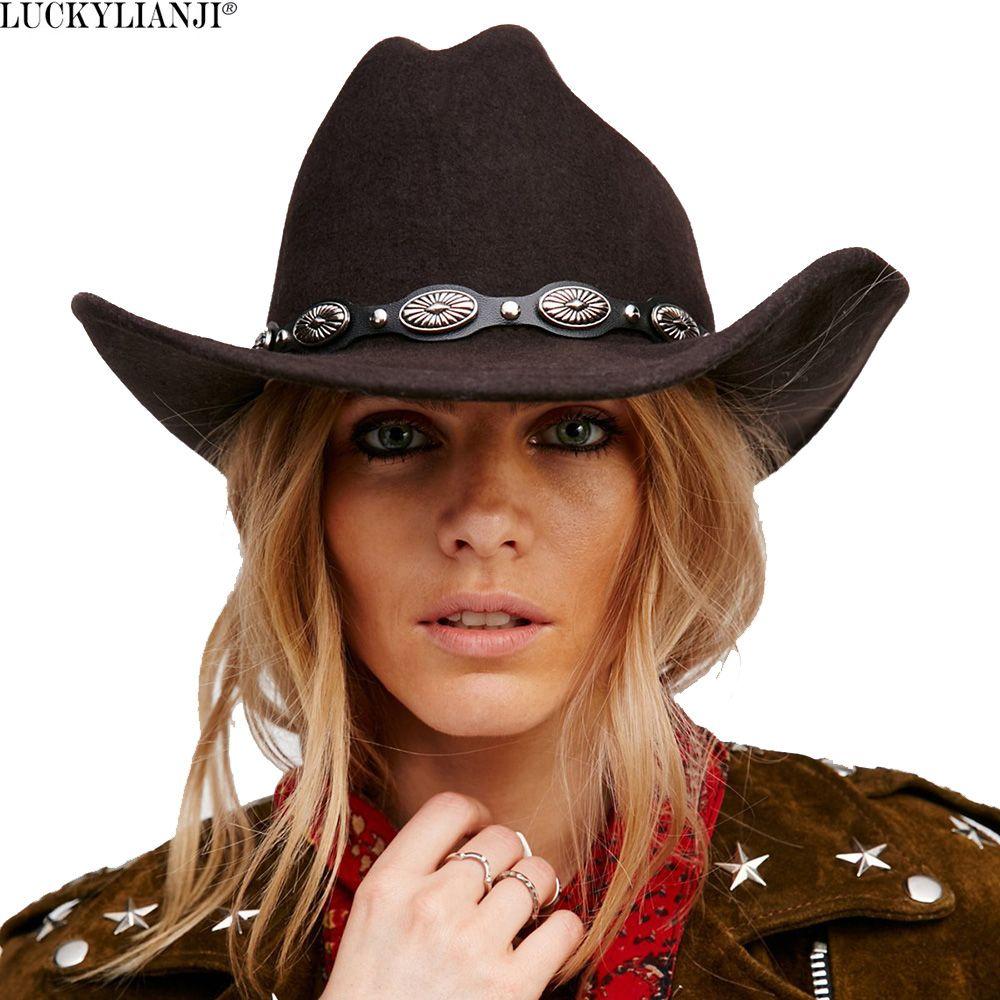 Luckylianji 100% шерсть Фетр Womem Для мужчин ковбойские шляпа с широкими полями панк кожаный пояс Джаз Кепки (один размер: 57 см/US 7 1/8)