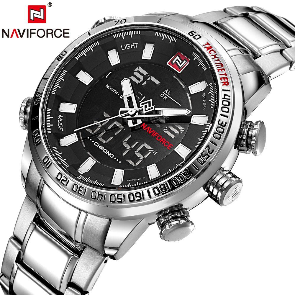 NAVIFORCE Luxury Brand Military Sport Watches Men Quartz Analog Male Clock Silver Full Steel Waterproof Relogio Masculino Hours
