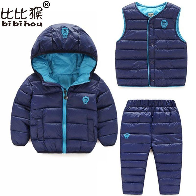 Winter Kids Clothing Sets Warm Duck Down Jackets Clothing Sets Baby Girls & Baby Boys Down suit 3pcs Coats Vest Pants Overcoat