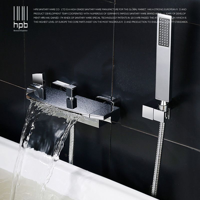HPB 2018 New Arrival Brass Polish Chrome Bathroom Bathtub Bath & Shower Faucet Set Hot And Cold Mixer Tap Dual Handle BU-5401