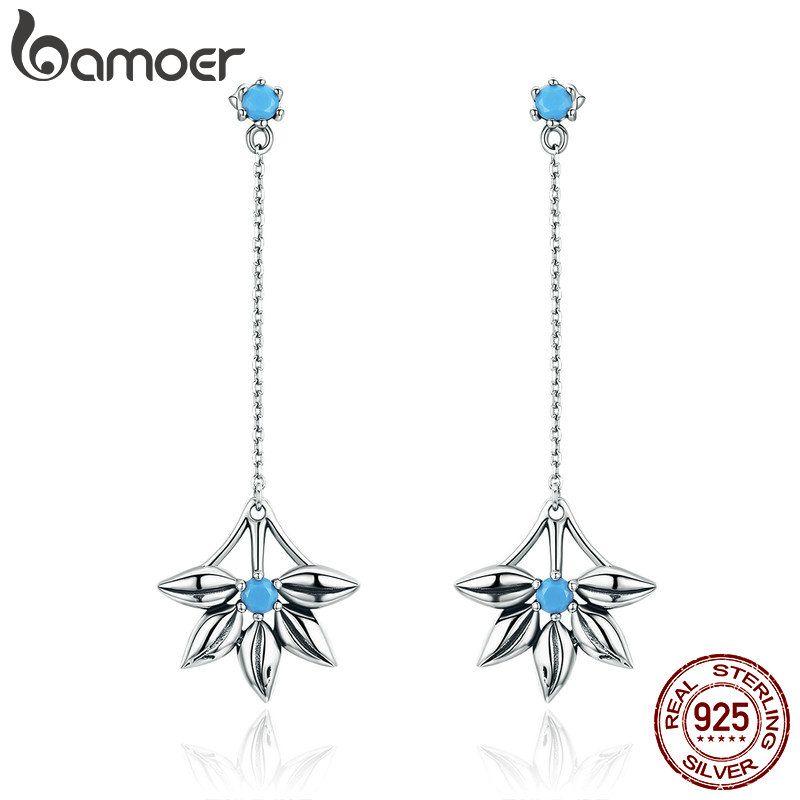 BAMOER 100% 925 Sterling Silver Daisy Flower Long Tassel Drop Earrings for Women Fashion Vintage Earrings Jewelry Brincos SCE279