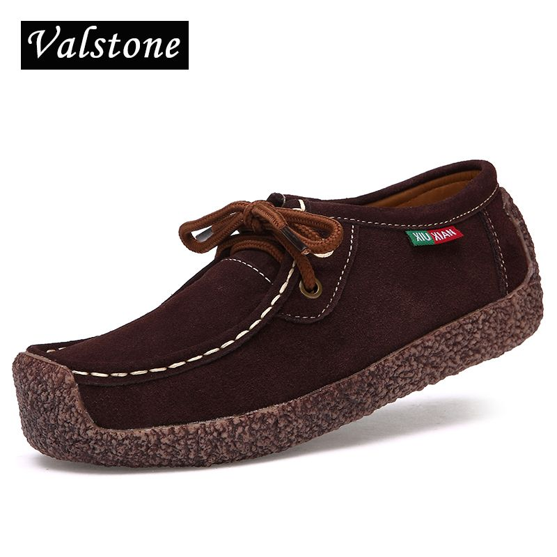Valstone 2018 New arrival autumn women Quality casual Suede leather Shoes fashionable snail shoes Leisure driving shoes lace ups