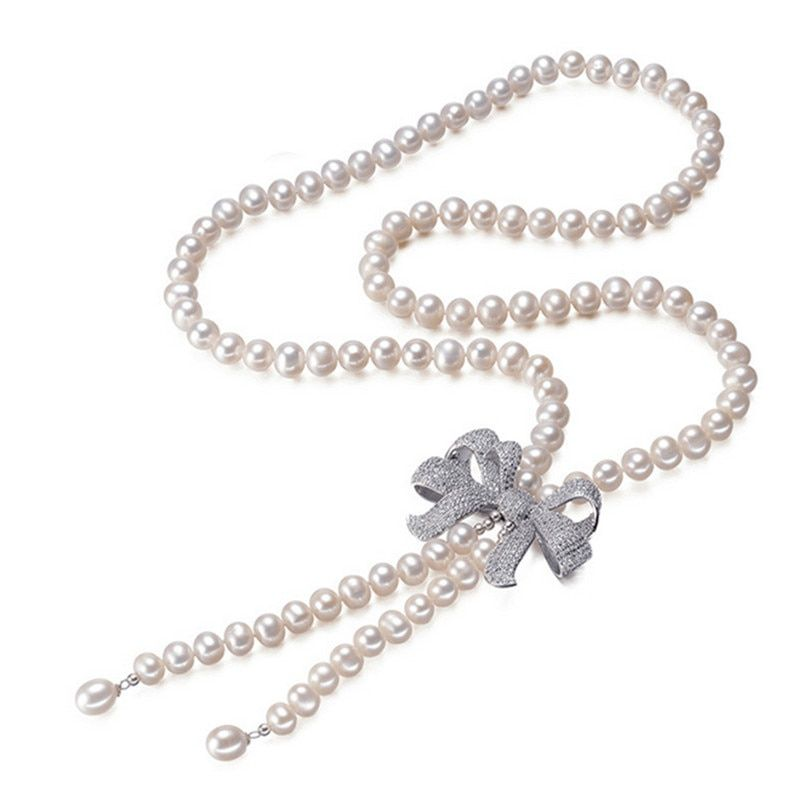 SNH Classic Necklace 100% Natural Freshwater Pearl Jewelry Gift For Mother 8mm Pearl Necklace